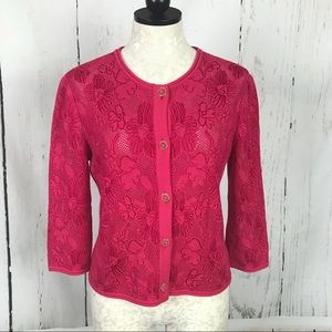 St. John Knit Floral Eyelet Lace Cardigan Sweater